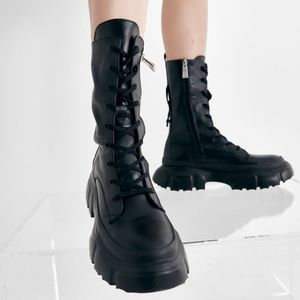 NWT ZARA | Lug Sole Combat Laced Leather Boots
